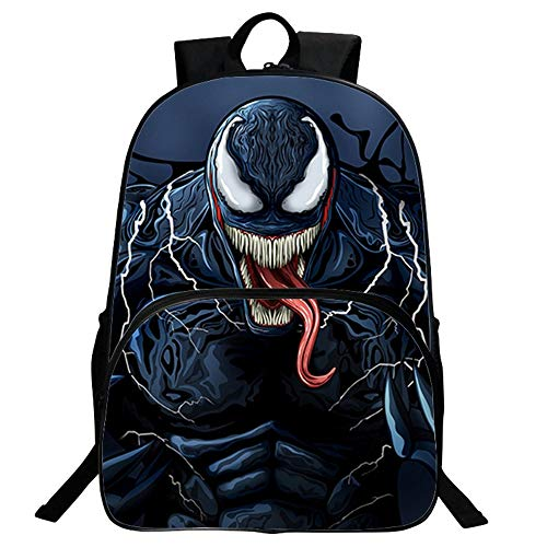 JUNMAONO Venom Bolsa Escolares Mochila Escolar con Bandolera Saco Doble Hombro Moral Petate Bolsas Saco Maleta Portabebé Bolso Mochilas Totes Empaquetan Mano Viaje Estudiantes (1)