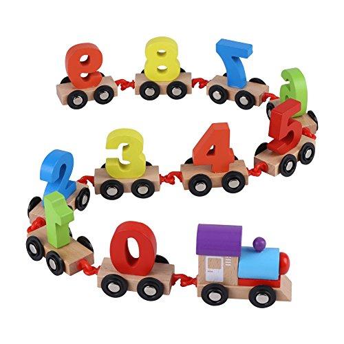 Zerodis Tren de madera Conjunto De madera Números Tren Juguete Aprendizaje temprano Juego educativo Juguetes Navidad Regalos de cumpleaños para niños Niños Niños pequeños