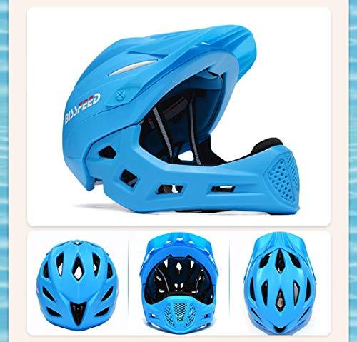 3M Kinder Balance Auto Skid Fahrrad Fahrrad Offroad Helm Reiten Helm Voller Helm Helm Abnehmbar,Blue