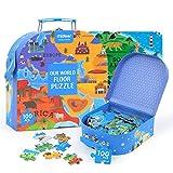 Kitabetty Mappa del Mondo Puzzle, Grande Puzzle di Carta per Bambini Giocattolo per Bambini Educational Geografia Puzzle Giocattolo Educativo Parlante, per Bambini (100 PC).