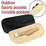 sunnymi Anti Theft Gürtel Tasche Geldbörse Camping Go Outdoors Wasserdicht Ultralight Sport Jogging Pouch Pocket (Khaki)