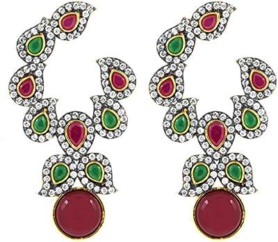 Chapado en oro de la mujer de Jewelbox Rojo y Verde Piedra y American Diamond–Pendientes