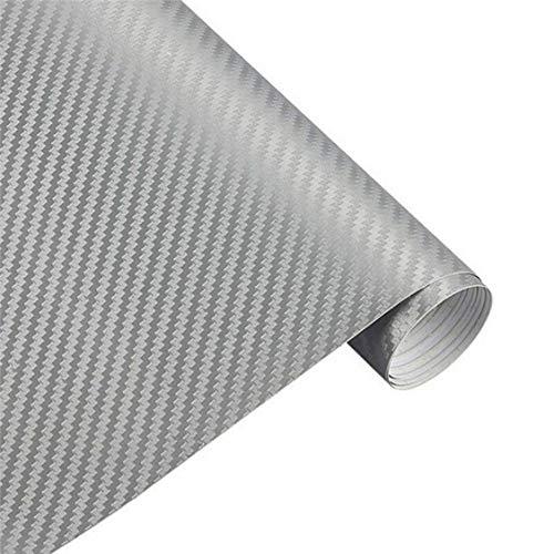 In fibra di carbonio 3d per furgone diy-foglio adesivo, film roll 30 x 152 cm, silver