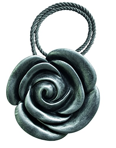 Aroa XXIe Aimant Rose Collier décoratif pour Rideaux Motif Floral, Plastique, 42 x 8 x 1 cm 42x8x1 cm Anthracite