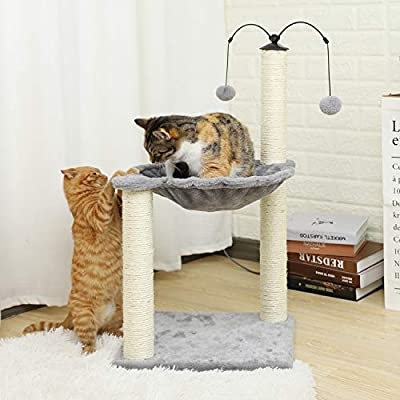 Eono Essentials Cat Furniture Cat Tree Cat Tower with Sisal Scratching Posts Hammock Perch Cat Bed Platform Dangling Ball Grey by Eono