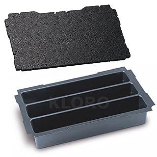 TANOS MINI-systainer® T-Loc I Einsatz 3-fach Einteilung mit verschiedenen Deckeleinlagen Deckelpolstern 90100016, TANOS Deckeleinlagen:Mini Einlage EPP