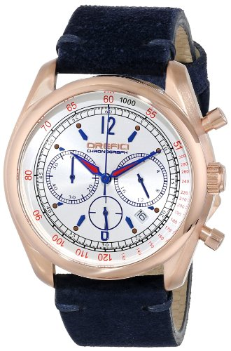 Orefici ORM16C4204 Men's Vintage Silver Dial Rose Gold Steel Blue Suede Strap Chronograph Watch