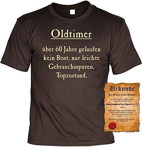 Witziges Geburtstags-Spaß-Shirt + gratis Fun-Urkunde: Oldtimer über 60 Jahre gelaufen Braun