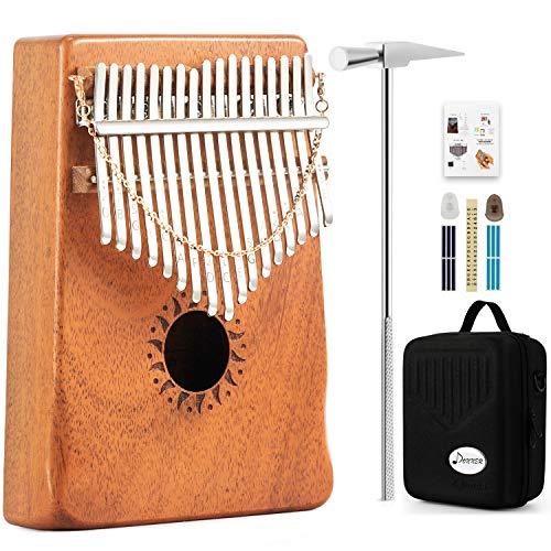 Donner Daumenklavier Kalimba Instrument 17 Schlüssel Solid Finger Klavier Mahagoni DKL-17 mit Hard Case Glockenspiel Music Box