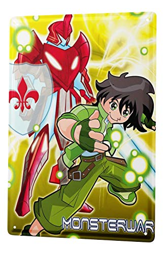 LEotiE SINCE 2004 Plaque en Métal Métallique Poster Mural tin Sign Cartoon Art Amusant Manga Japon Monsterwar Metal Plates 20X30 cm