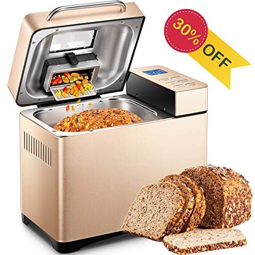 yabano macchina per il pane, 950w macchina per pane e dolci con 21 programmi automatici in acciaio inox, capacità 1.2kg, avvio programmabile 15 ore, 3 livelli di doratura, display lcd