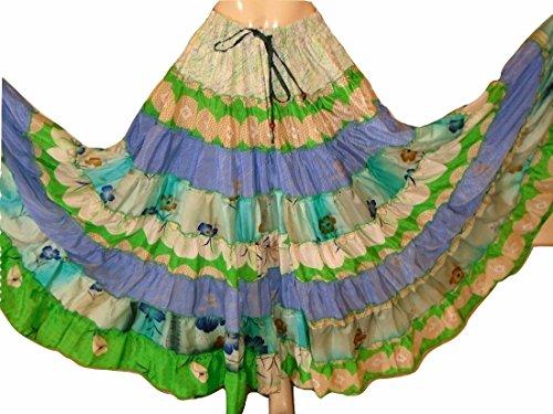 GREEN TONES - 7 to 9 Yard Tribal Gypsy Maxi Tiered Skirt Gonne con danza del ventre Banchino misto seta S M L 7