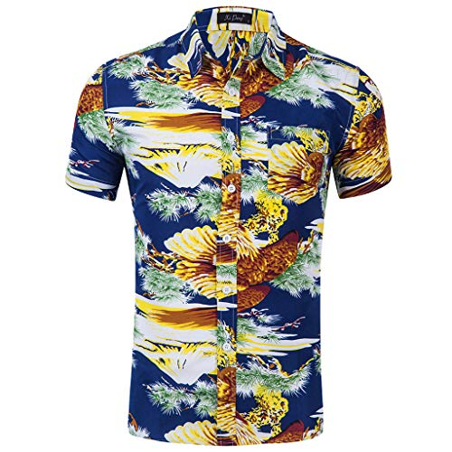 Sannysis Herren Hawaii Hemd Strand Kurzarm Knopf Hemden Regular Fit Freizeithemd Sommer Freizeit Hemd Slim Fit 3D Reise Hawaiihemd für Männer