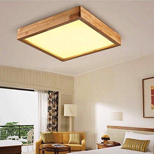 Holz-quadrat-lampe (JINER-24W LED kreative Persönlichkeit von massivem Holz Decke Lampe Wohnzimmer Schlafzimmer Acryl Quadrat Hallenlampe 35 cm * 35 cm * 9cm220V-240V , warm light)