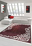 Merinos Teppich Floral Designerteppich Wohnzimmerteppich waschbar in Bordeaux Größe 80x150 cm