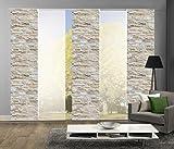 Home Fashion 95149 | 5er-Set Schiebegardinen WALLI | blickdichter Dekostoff & transparenter Halborganza | 5x jeweils 245x60 cm | Farbe: (natur)