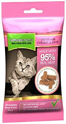 4 packs of Natures Menu Cat Treats - Real Chicken & Liver 60g