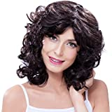 ATOZWIG Women's Short Curly Wig For Black Women African American Short Bob Hairstyles Cheap Synthetic Natural Black Wig Afro Pelucas