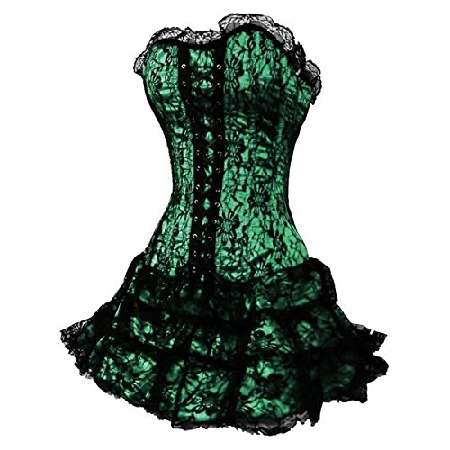 loveorama.de Dissa® Gothic Lace Trim Deman Corsage Korsett mit G-String,Grün,XXL