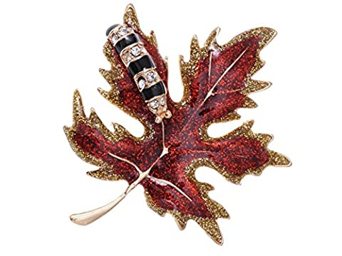 Alilang Golden Tone Red Glitter Autumn Maple Leaf Caterpillar Brooch Pin