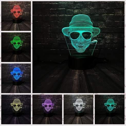 Nachtlicht cool man sonnenbrille junge dekoration lampe schlafzimmer schlaf licht 7 farbwechsel kind weihnachten junge geschenk spielzeug 3d