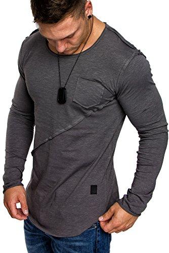 Amaci&Sons Oversize Herren Longsleeve Vintage Crew Neck Sweatshirt Rundhals Basic Shirt 6056 Anthrazit L (Grün Line Crew)