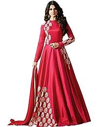 MONIKA SILK MILL Women's Silk Dress Material (SASUNDAY-1285P_Pink_Free Size)