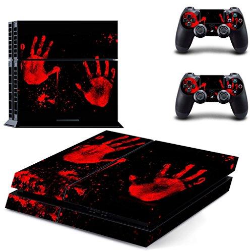 FLAMEER Controller Skins Kit Sticker Aufkleber Haut Design Folie für Sony PS4 Controller / Console Dekoration - Blut Hand