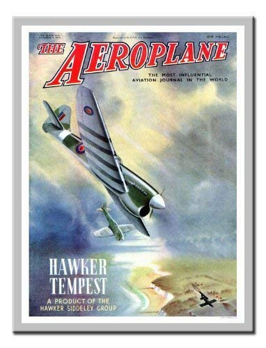 iPosters Hawker Tempest Flugzeug Magazin Cover Print 1940er Memo Board, Magnet Silber gerahmt–41x 31cms (ca. 40,6x 30,5cm)
