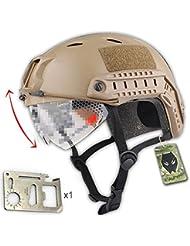 Ejército Estilo Militar SWAT Combate Bj Base Jump rápido casco w/–Gafas protectoras (de color marrón) para mochila de Airsoft Paintball