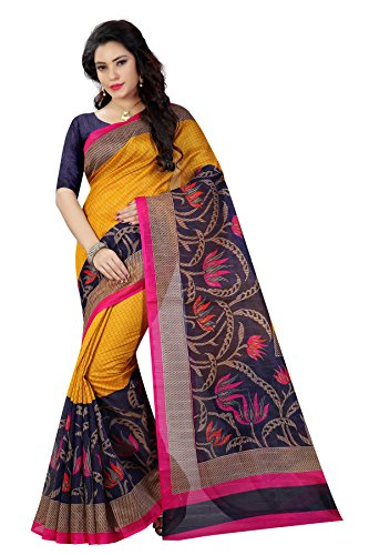 Women's Bhagalpuri Art Silk Traditional Saree Unstitched Blouse Design (BHAGALPURI SAREE 34_Multi...