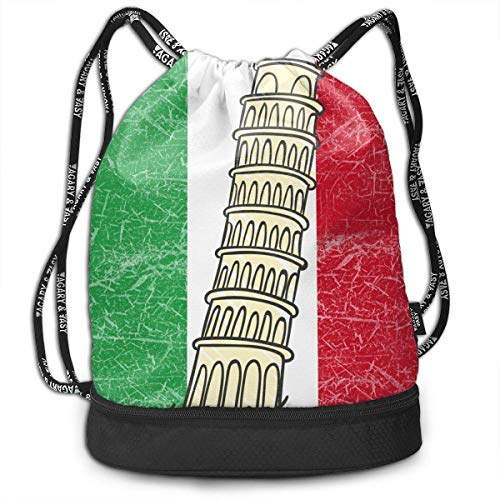 wwoman Polyester Drawstring Backpack Theft Proof Water Resistant Large Tote Cinch Sack Large Capacity for Basketball, Volleyball, Sports & Workout Gear (Italy Flag Pisa Tower)