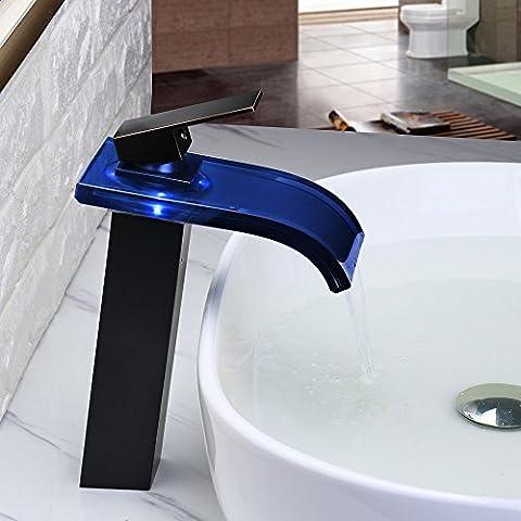 jiayoujia LED vetro cascata monoblocco rubinetto miscelatore alto da bagno, colore: nero