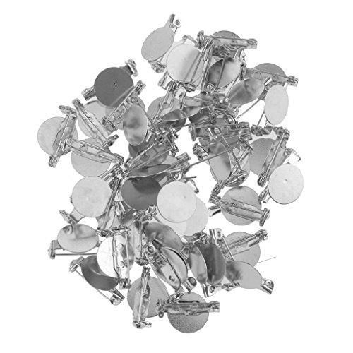 MagiDeal 50pcs Argento Spazi Vuoti Spilla Di Base Vassoi Esegue Il Pin Impostazione I Risultati Di DIY 2.3