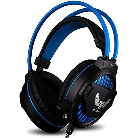 GranVela® X70 Cuffie orecchio Leggere con Riduzione del rumore, Microfono, Luce LED, Regolazione del Volume e Vibrazioni, Cuffieper PC, Notebook (Blu)