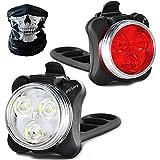 Fahrradlicht LED Set, LED Fahrradlichter Set,Wiederaufladbare Wasserdicht USB LED Fahrradbeleuchtung mit Aufladbar 650 mAh Akku, LED Fahrradlampe Kinder Fahrradlicht Fahrrad Rücklicht Set, 4 Licht-Modi, 2 USB-Kabel