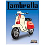 Lambretta - Red & White Classic. Italian classic, moped, scooter. Mod. For garage, shop, bar, cafe, pub or home. Small Metal/Steel Wall Sign