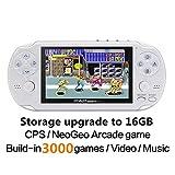 CZT Consola de juegos portátil CZT Dual Core de 16GB y 64 bits y 4.3 pulgadas Juego clásico 3000 incorporado CPS/NEOGEO/GBA/SFC/MD/FC/GBC/SMS/GG/GB MP4 (blanco)