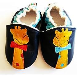 Pantuflas con forro interior para bebé en piel de oveja suave–jirafa azul Bleu marine / Orange Talla:12-18 meses