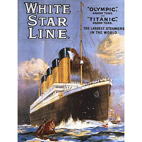 Wee Blue Coo LTD Travel Transport Ocean Liner Olympic Titanic Steamer White Star UK Art Print Poster Wall Decor Kunstdruck Poster Wand-Dekor-12X16 Zoll -