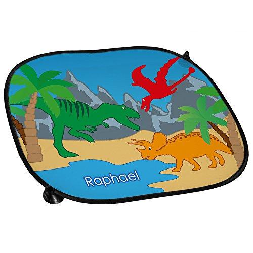 Auto-Sonnenschutz mit Namen Raphael und schönem Dinosaurier-Motiv für Jungs - Auto-Blendschutz - Sonnenblende - Sichtschutz
