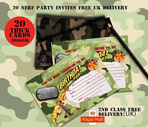 design buddies Lot de 20 Invitations pour garçon Motif Fusil Nerf/Guerre Nerf/Bataille Field Party Army/Anniversaire Party for Boys
