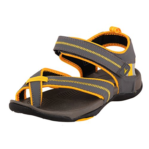 Tracer Men's SD036 Series Grey / Yellow Synthetic Floater Sandals - 09 UK  available at amazon for Rs.862