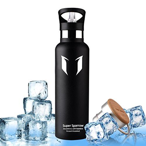 Super Sparrow Borraccia in acciaio inox-600ML-Premium isolante della bottiglia con 100% di garanzia di soddisfazione | perfetto Thermos per la Corsa, fitness, Yoga, all' aperto e Camping, Auto o in movimento | Privo di BPA, BPS, ftalati | Die sano Art bevanda | Ideale come acqua & Sport bottiglia-con 2Cappucci intercambiabili, nero, 20oz-600ml - Black Art Corsa