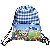 Bolsa mochila tren, en tela vichy cuadros azules, personalizada con nombre. /29x37 cm./