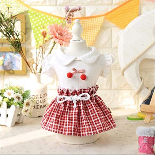 Cherry's Kostüm - L Pet supplies Cherry Plaid Rock Haustier Hund Kleidung Frühling und Sommer Bomei Yorkshire VIP Teddy Hund als Panda Kostüm @ red_XL (Siehe Größentabelle)