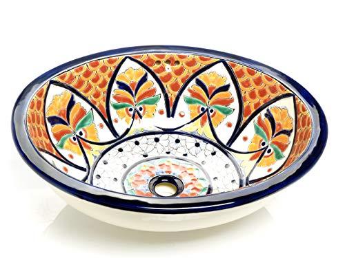 Dominga - Mexikanisches Ovales Waschbecken | Oval Einbauwaschbecken mit Rand | Keramik Talavera Einbau/Unterbau Waschbecken aus Mexiko
