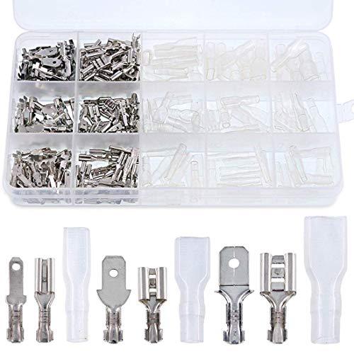 ABREOME Flachsteckhülsen Set , 270 stück männlich & weiblich Elektrische Kabelschuhe Set isolierte Verbinder mit Schutzhülle (2,8 mm 4,8 mm 6,3 mm)