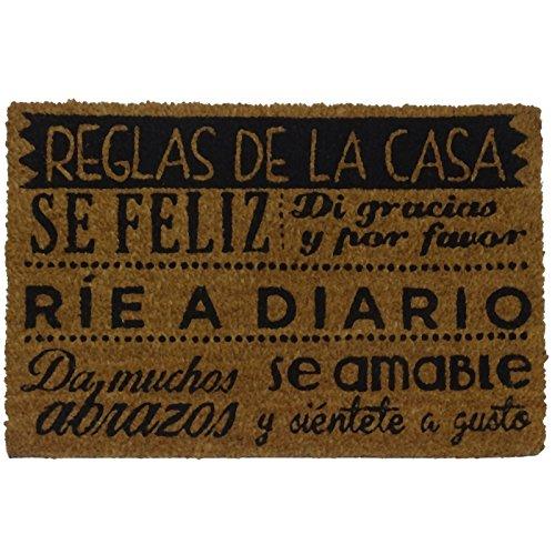 Felpudos Originales  con Diseño Reglas de la Casa, PVC, Coco, 60 x 40