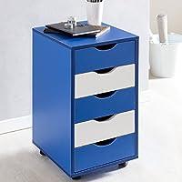 KadimaDesign Rollcontainer Mina 33x68x38cm MDF 5 cajones Azules/los niños Blancos | cajonera Moderna con Ruedas | De pie envase contenedor de Oficina